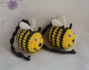 Crocheted Bee - pendant