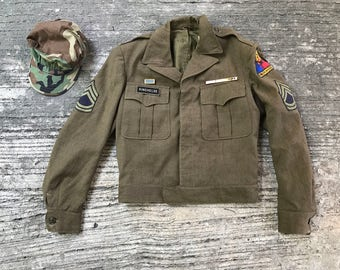 Vintage US ARMY Jacket, Field, Wool, OD