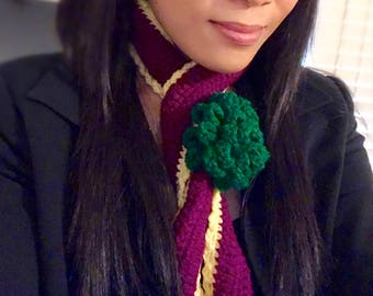 Handmade Crochet Necklace in Maroon and Yellow and a Green Flower