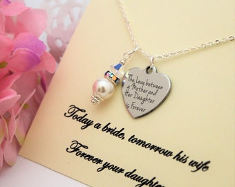 Mother of Bride Gift From Bride Gift for Mom Necklace Gift from Daughter Rehearsal Dinner White Pearl Necklace Gift to Mom from Daughter