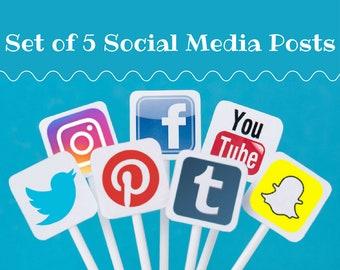 Custom Social Media Posts for Your Business, Blog, Shop, or Website - Set of Five