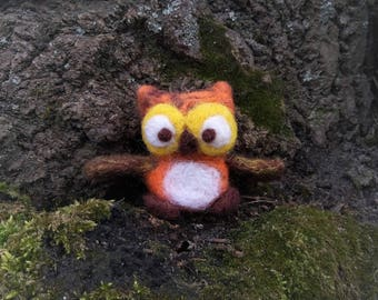 Owl wool brown cute toy gift for her handmade