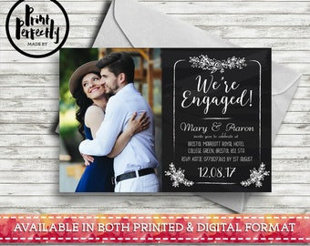 Chalkboard Floral We're Engaged with Photo - Luxury Customised Engagement Party Invitations (Printed & Digital)