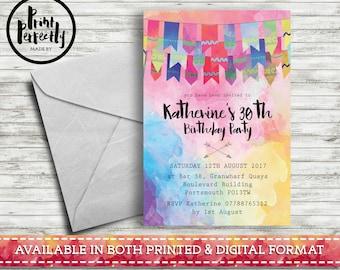 Bohemian Holi Festival Bunting - Luxury Customised Birthday Party Invitations (Printed & Digital)