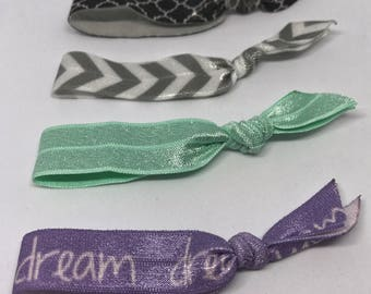Elastic Hair Ties | Pony Tail Holders | Purple, Mint Green, Chevron, and Black Patterned Elastics