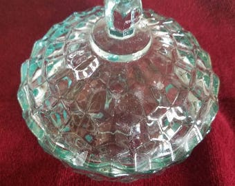 Teal Clear Green Glass Candy Dish