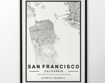 San Francisco City Map Print, Modern Contemporary poster in sizes 50x70 fit for Ikea frame All city available London, New york Paris Madrid