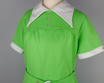 60s Lime Green Mod Mini Dress - Peter Pan Collar