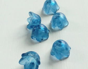 Lucite Flower Beads, Painted Flowers, Small Bell, Ocean Blue