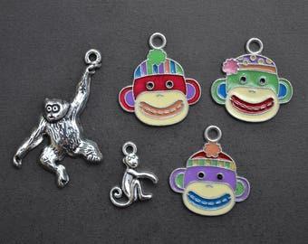 Monkey Charm Collection, Set of 5 Silver & Enamel Charms, Monkey, Ape, Gorilla, Chimpanzee, Zoo Animal, Jungle, Theme, Lot, Pendant (CC1)