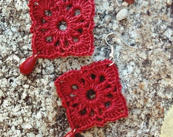 Crochet square earrings