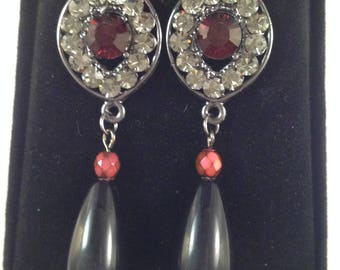 Black and Red Drop Earring