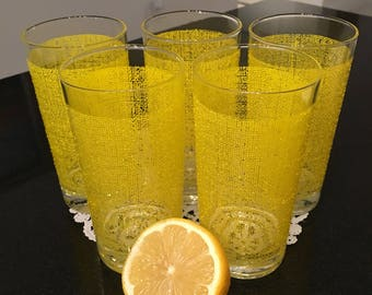 Set of 5 Vintage Drinking Glasses with Yellow Mesh Texture