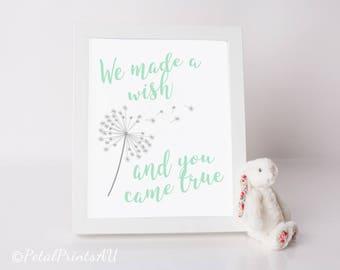 We made a wish NURSERY/PLAYROOM printable wall art, mint green