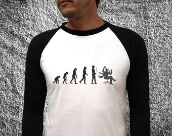 Tshirt baseball 3/4 sleeves Grey/White raglan Darwin evolution woody T-shirt men's clothing raglan t-shirt office burn out office work funny