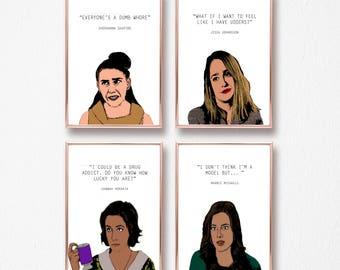 4 Girls HBO quotes - marnie, shoshanna, jessa and hannah - a4 8x10 print