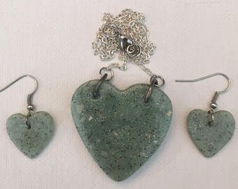 Polymer Clay Heart Necklace and Pierced Earrings