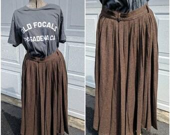 90's Vintage Brown Wool Circle Maxi Skirt