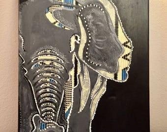Kente Elephant Canvas