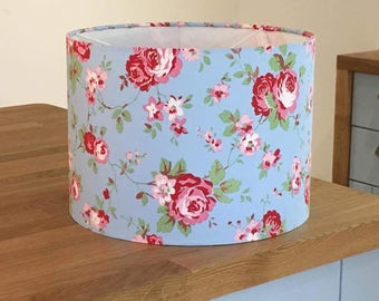 Handmade Lampshade made in Cath Kidston 'Rosali' Fabric. Blue, Pink and White.