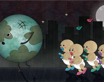 Run! (Computer Digital Art Painting Wallpaper Original Poster Image Download Large Wall Print Save Planet Earth Babies Overpopulation Fear)