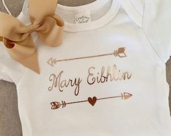 Personalized Onesie with Bow and Detachable Band, baby shower gift, Baby Onesie