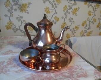 Vintage Copper Coffee Set & tray
