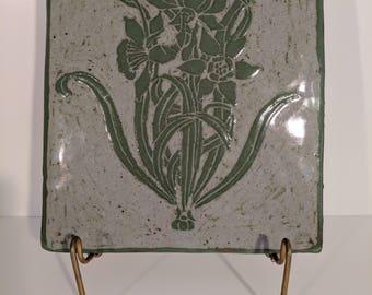 Green Daffodil Trio Handmade Ceramic Wall Hanging Art Nouveau Abstract