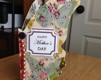 Butterfly Mothers Day card, handmade, for mom, for her, elegant