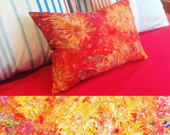 Bright and colourful cushion - 'Sunburst' made from my original art.