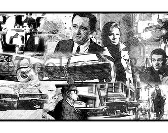 Bullitt Collage Original Art Print