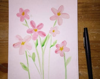 Watercolor 5-petal flowers
