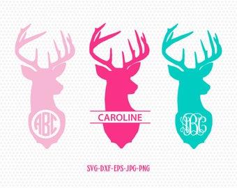 Deer head monogram frames svg, Deer head  SVG,deer svg,deer Svg Files, frame Cricut download svg jpg png dxf Silhouette cameo