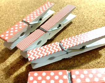 Pink and White Clothespin Push Pins for Bulletin Board Corkboard Memo Board Pin board Fabric Memo Board Covered Corkboard