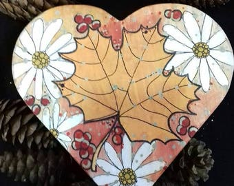 Hand painted heart shaped box