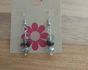 Glass Bead and Rock Earrings