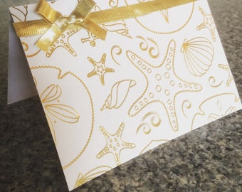 GOLD SEALIFE greeting CARD 4x5.5 inches - with envelope