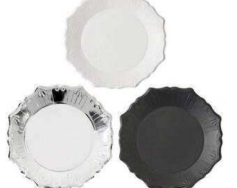 Porcelain Party Paper Plates,Party Plates ,modern party plates,party paper plates,black paper plate,silver paper plate, white paper plate