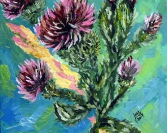 Thistle Oil Painting