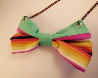 "Tula Pink ""sorbet"" multicolored cloth knot necklace"