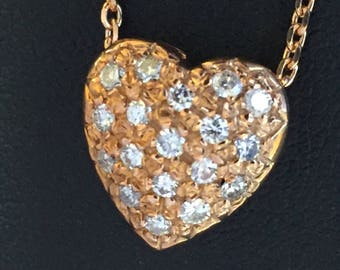 Rose Gold Pave' Diamond Heart Necklace
