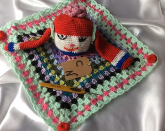 Baby blanket. Multicolored, cotton crochet.