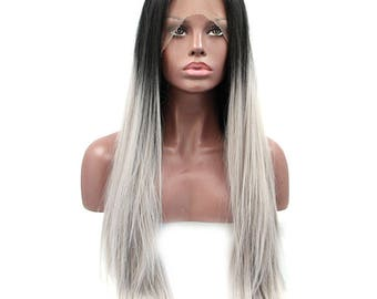High Quality Ombre Black and Grey Color Silky Straight Synthetic Hair Lace Front Wigs for Women