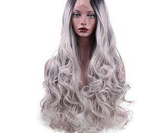 Synthetic Lace Front Wigs Heat Resistant Ombre for Women Long Wavy Grey Color
