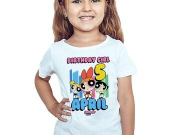The Powerpuff Girls Birthday T-Shirt Custom Powerpuff Girls Personalized Shirt Custom Name and Age