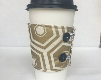 Reusable Coffee Sleeve - Gold Hexagon