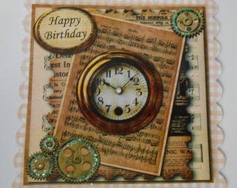 Pack 2 Steampunk Clock Happy Birthday Embellishment Topper for cards and Crafts