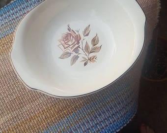Salem China Company Brown Rose Serving Bowl - 1957