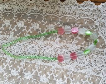 Pink, Green, & White Bracelet