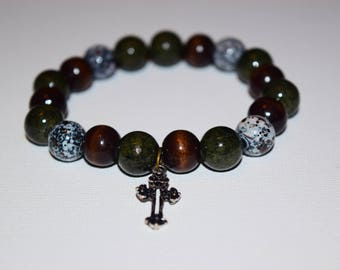 Brown and Green Bracelet with Cross Charm
